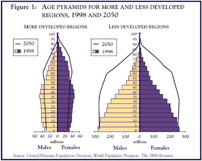 Demographics - Age Pyramid UN 1998 Worldwide