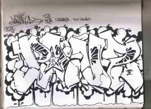 sketch graffiti bubble alphabet is wearing style