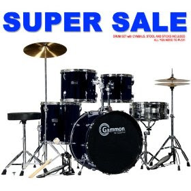 rief musik black drum set for sale with cymbals hardware and stool new gammon 5 piece kit full size. Black Bedroom Furniture Sets. Home Design Ideas