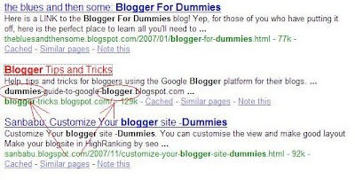 SERP for blogger for dummies 2