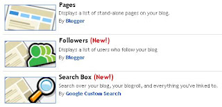 Blogger.com's new gadgets available via its LAYOUT