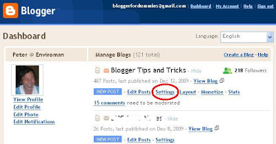 screen shot of Blogger Dashboard