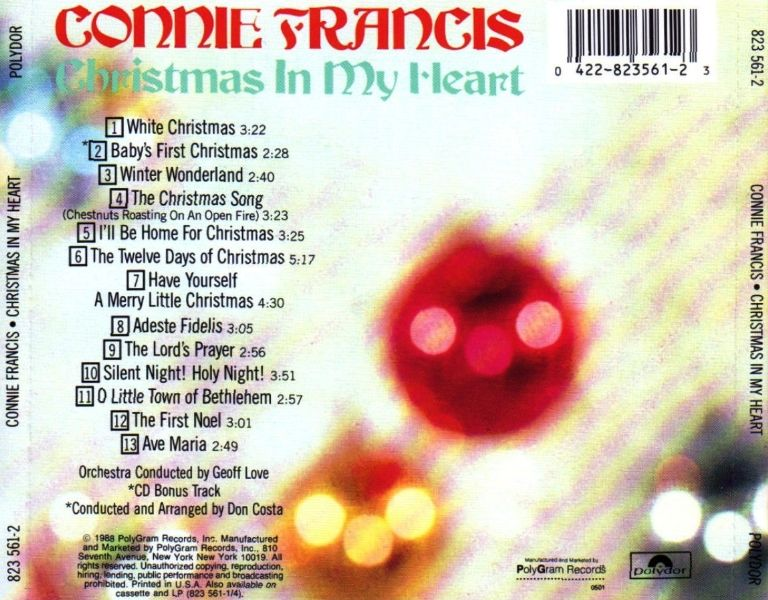 Connie Francis The Twelve Days Of Christmas.Music So Much More Connie Francis Christmas In My Heart