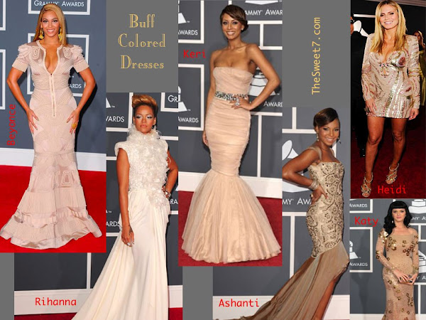 Grammy Fashion -Buff Colored Dresses