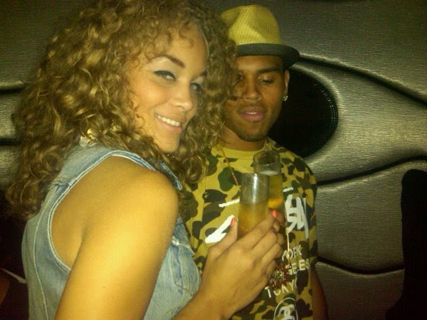 Jasmine Sender with her ex-boyfriend Chris Brown