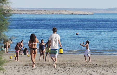Summer Beach  Puerto Piramides in Valdes Peninsula