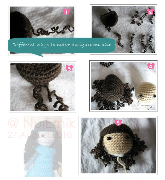 How to Attach Hair to a Crochet Doll - thefriendlyredfox.com | 602x552