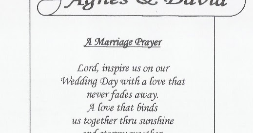 Catholic Wedding Reception Prayer Before Meal Gallery