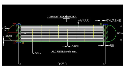 CAD drawing of a heat exchanger