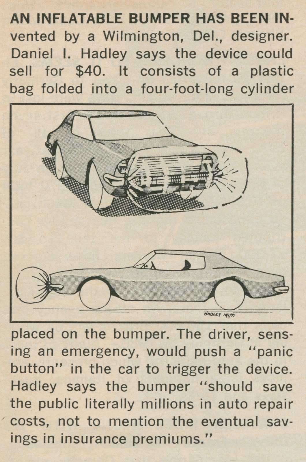 The Likelihood Of A Plastic Bag Stopping Four Thousand Pound Car Is Wildly Optimistic You D Think That Cars Were Much Heavier In 1972 But Oddly Enough