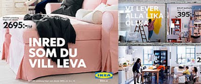 Sample of an Ikea catalog before the font change, compared to a page after