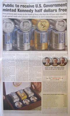 Full page ad with headline Public to receive U.S. government minted Kennedy half dollars free