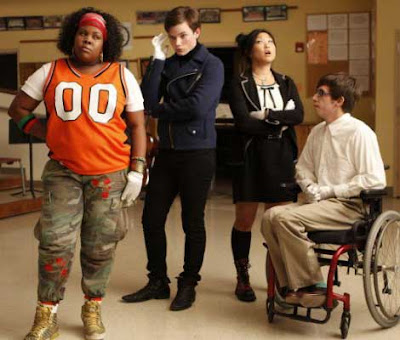Four secondary characters from the glee club