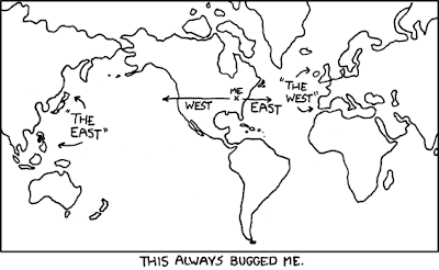 Cartoon map pointing out the absurdity of East and West labels when applied in North America vs. Asia and Europe