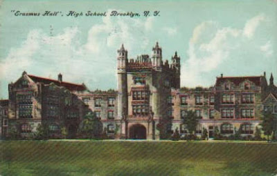 Colorized postcard rendering of large gothic high school building, Erasmus Hall 1910