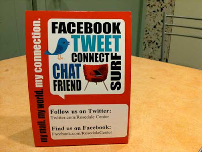 Table tent on a table with Tweet Chat Surf Connect and bird graphics