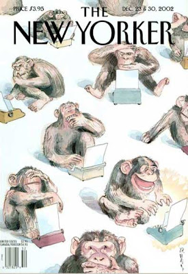 Chimps at typewriters, each with a different expression, one is laughing uproarieously