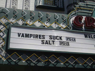 Movie marquee reading VAMPIRES SUCK SALT