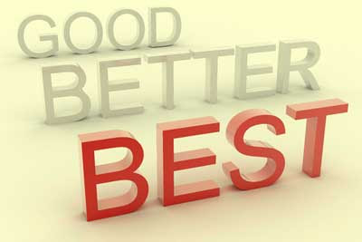 3D words Good Better Best