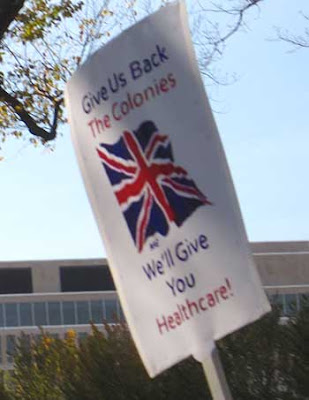Give us back the colonies, we'll give you health care - with Union Jack, color ink jet printout