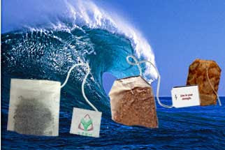 Wave crashing down on an assortment of tea bags