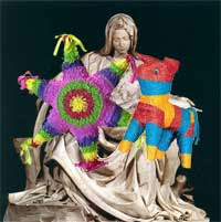 The Virgin Mary in the Pieta holding two pinatas