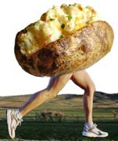 A twice-baked potato with human legs, running