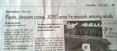 Article headline Pants, dessert cones, 2011 Santa Fe models among recalls
