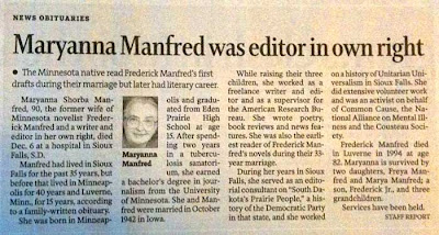 Maryanna Manfred obit with headline Maryanna Manfred was editor in own right