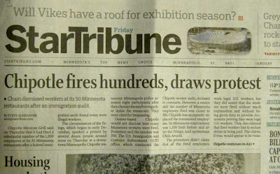 Front page of the January 21, 2011, Star Tribune with story about Chipotle firings at top