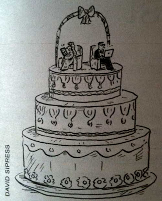 David Sipress cartoon of a wedding cake with the bride and groom figures sitting on chairs, facing away from each other, each using a laptop computer