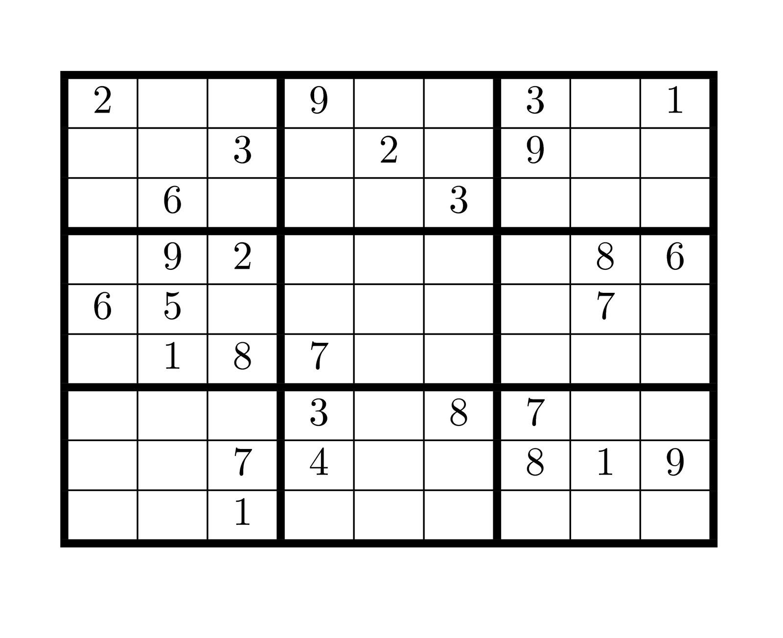 Tirpidz's Sudoku: #187 Classic sudoku 9 x 9