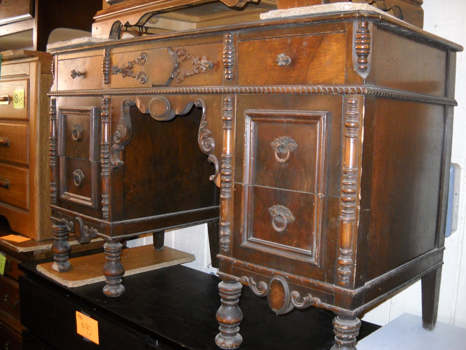 Uhuru Furniture & Collectibles: Ornate 1930s Desk SOLD