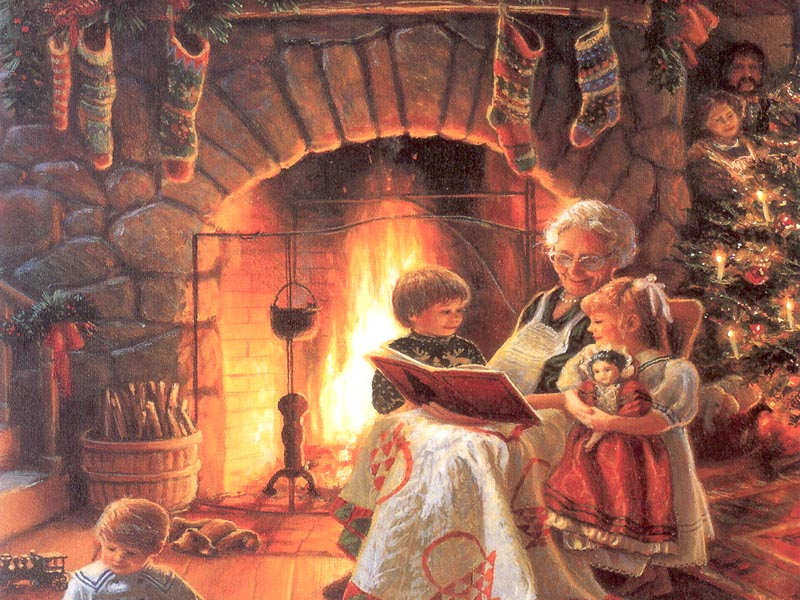 Image result for pictures families reading stories at christmas""