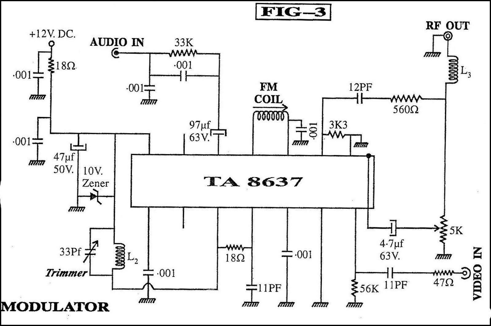 rf modulator hookup diagram ge spectra oven wiring the simplest tv transmitter ever made circuits diy