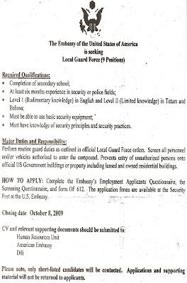 Serbisu Iha Timor-Leste / Jobs in Timor-Leste: US Embassy