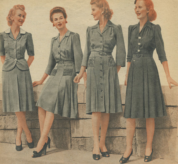 1940s women's fashion dress