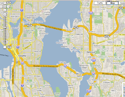 Google map of Seattle area