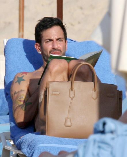 d652398cd49 Celebrities love their birkin bags. Marc Jacobs was seen yesterday on St  Barts on the beach with his beloved Hermes Birkin bag sunbathing.