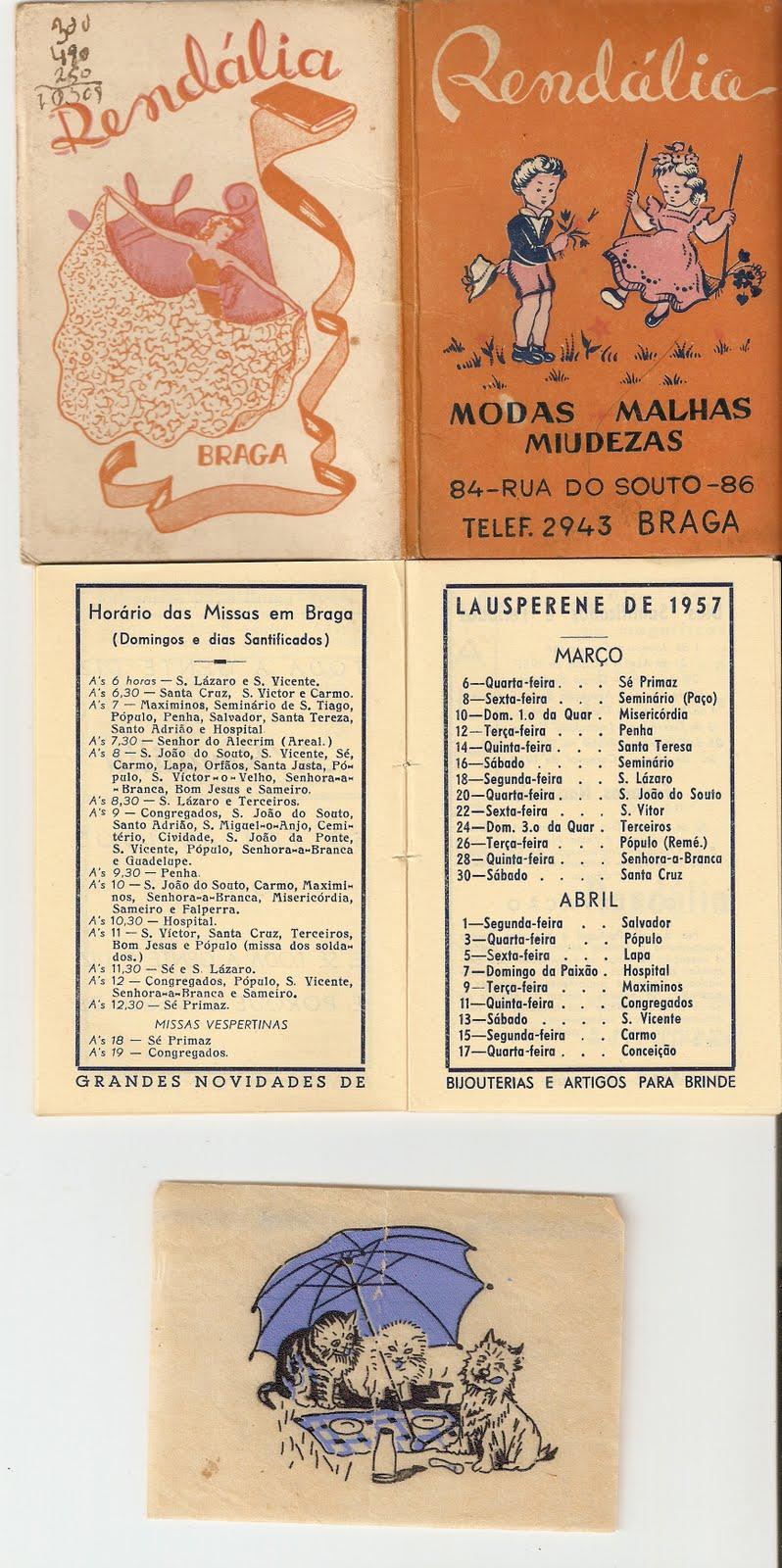 b73047614 No meio dos livros infantis encontrava-se este pequeno livrinho (105 x 70  mm), com calendários para os anos de 1957 e 1958. O voluminho é mais  propriamente ...