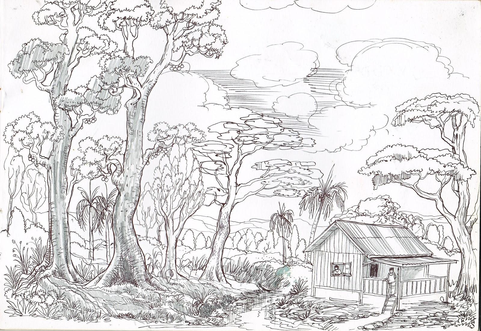 Download Sketsa Gambar Pemandangan Agak Rumit
