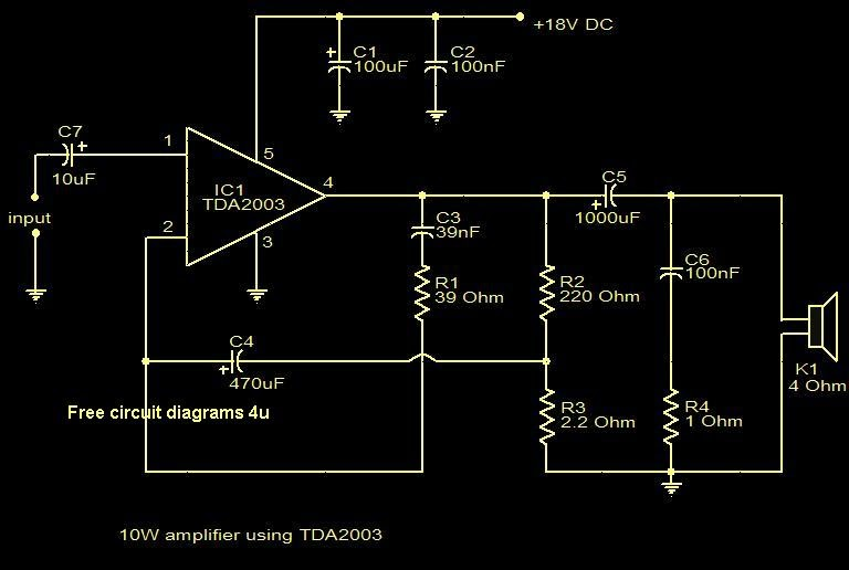 free circuit diagrams 4u 10w amplifier using tda2003. Black Bedroom Furniture Sets. Home Design Ideas
