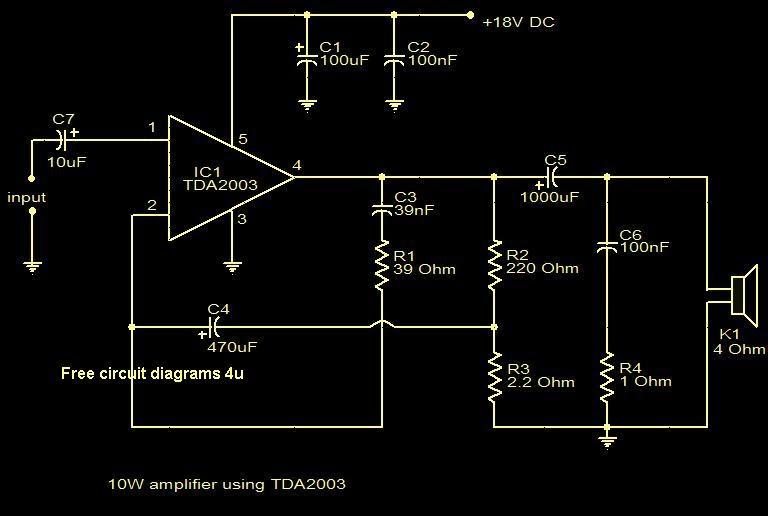 FREE CIRCUIT DIAGRAMS 4U: 10W Amplifier Using TDA2003