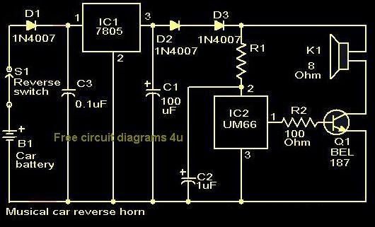 free circuit diagrams 4u musical car reverse horn circuit. Black Bedroom Furniture Sets. Home Design Ideas
