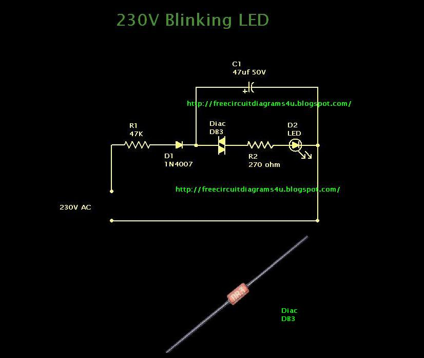 FREE CIRCUIT DIAGRAMS 4U: 230V Blinking LED