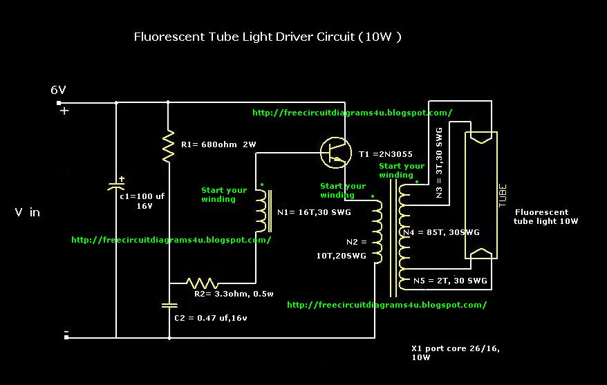 free circuit diagrams 4u fluorescent tube light driver. Black Bedroom Furniture Sets. Home Design Ideas