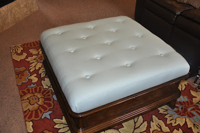 How To Reupholster An Ottoman And Make A Tufted