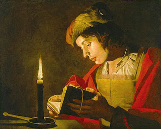 Matthias Stom,  Young Man Reading by Candlelight