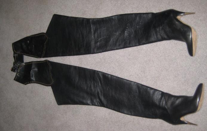 eBay Leather Rare Biondini black leather chap boots