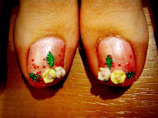 pink and yellow rose 3 d nail art on big toes